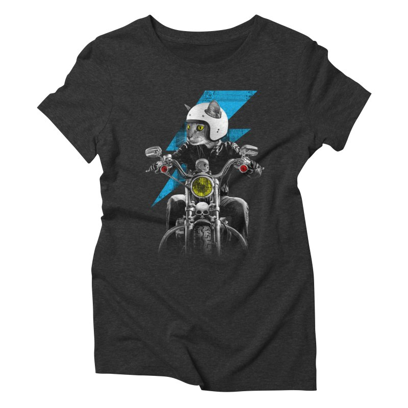 Biker Cat Women's Triblend T-shirt by Joe Conde