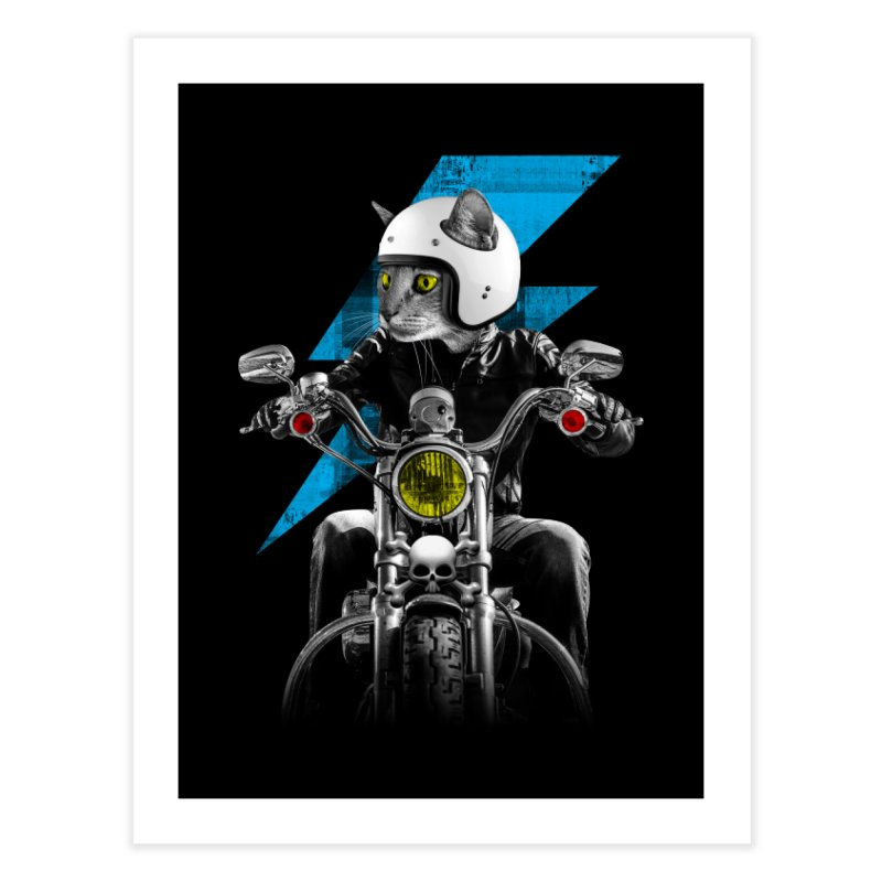 Biker Cat Home Fine Art Print by Joe Conde