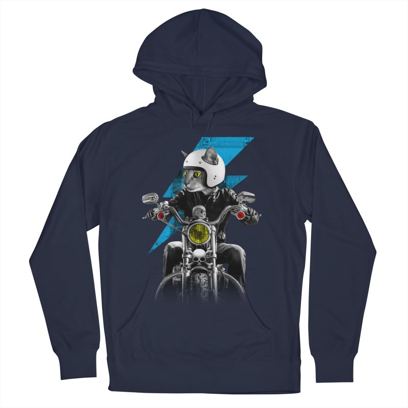 Biker Cat Men's French Terry Pullover Hoody by Joe Conde