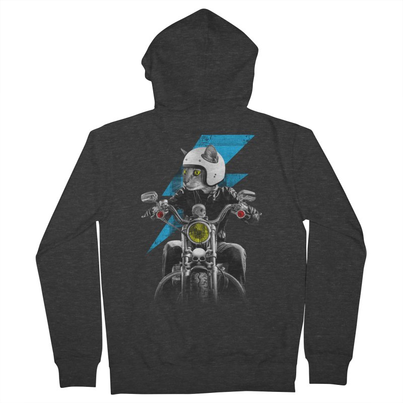 Biker Cat Men's French Terry Zip-Up Hoody by Joe Conde