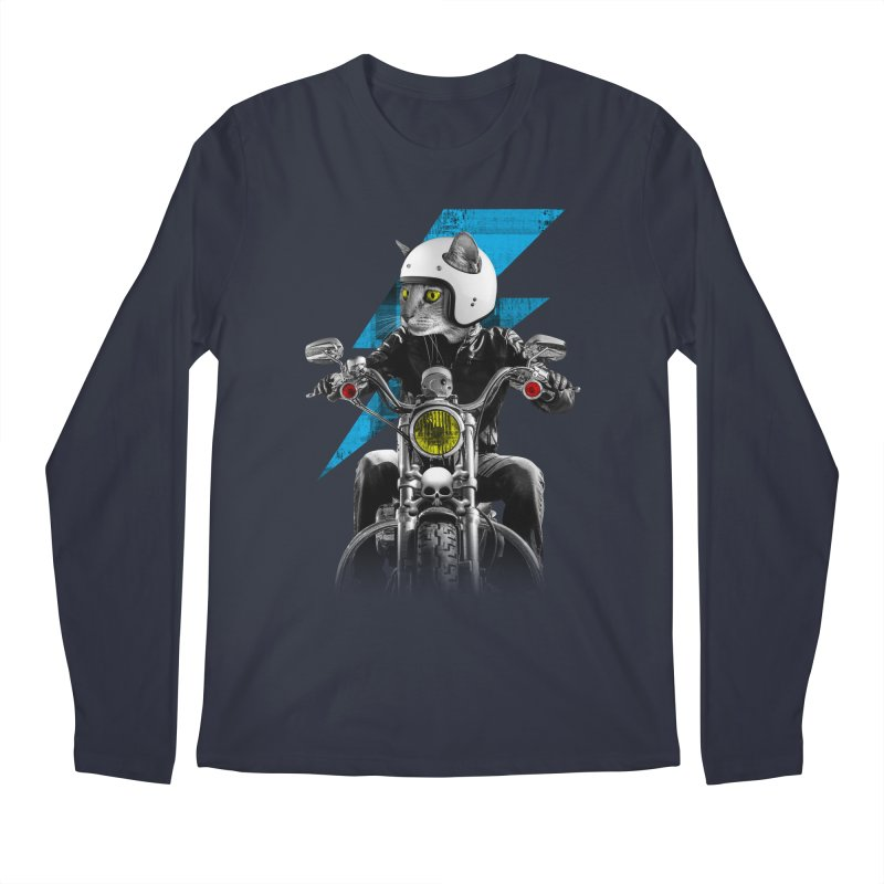 Biker Cat Men's Regular Longsleeve T-Shirt by Joe Conde