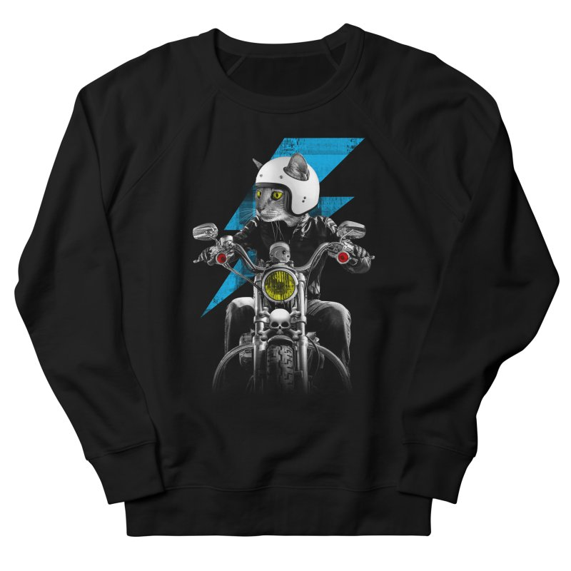 Biker Cat Men's French Terry Sweatshirt by Joe Conde