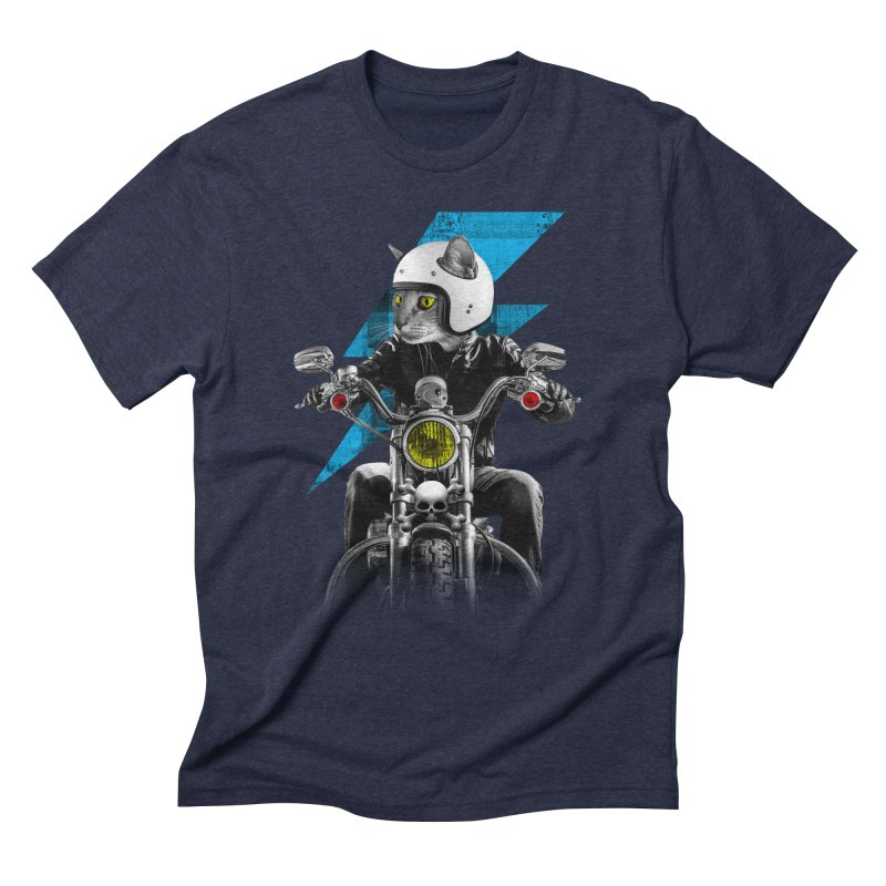 Biker Cat Men's Triblend T-Shirt by Joe Conde