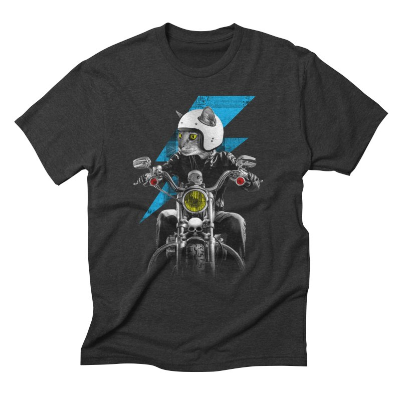 Biker Cat Men's Triblend T-Shirt by Joe Conde