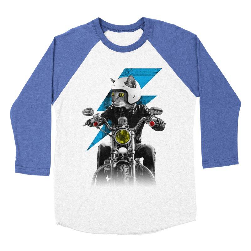 Biker Cat Women's Baseball Triblend Longsleeve T-Shirt by Joe Conde