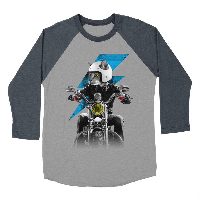 Biker Cat Women's Baseball Triblend Longsleeve T-Shirt by Joe Conde