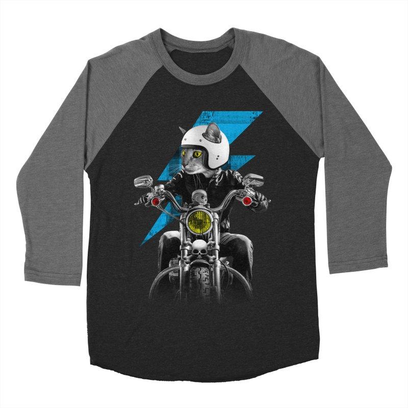 Biker Cat Men's Baseball Triblend Longsleeve T-Shirt by Joe Conde
