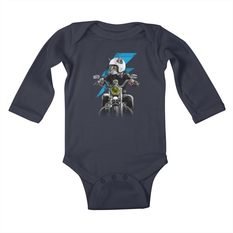 Biker Cat Kids Baby Longsleeve Bodysuit by Joe Conde
