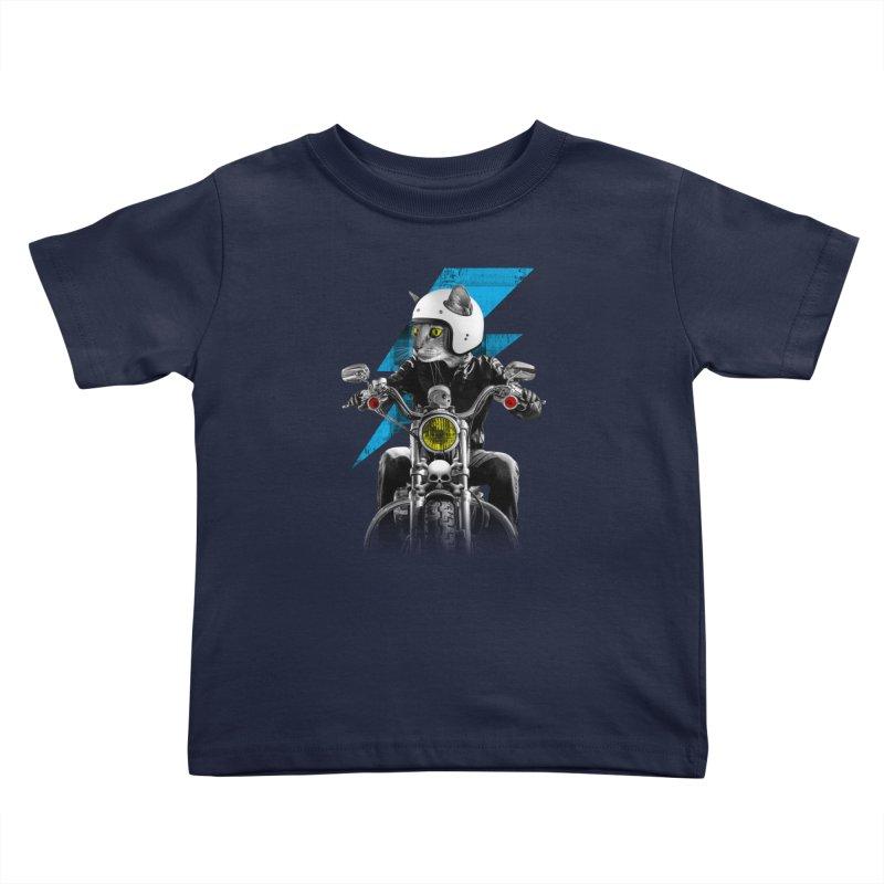 Biker Cat Kids Toddler T-Shirt by Joe Conde