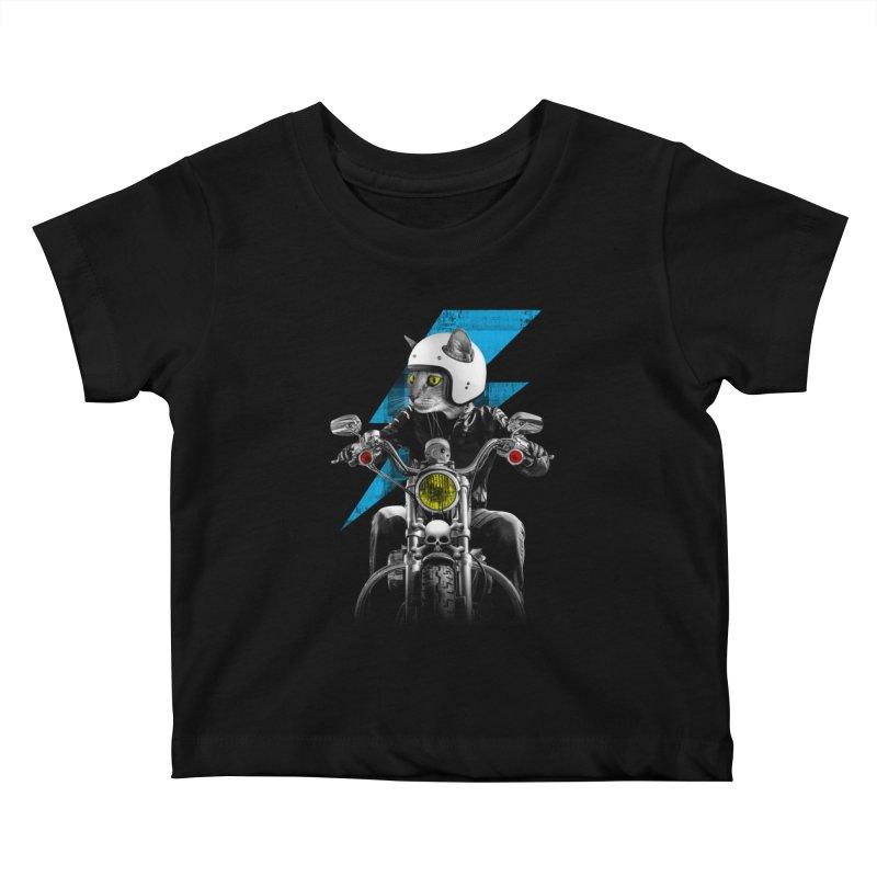 Biker Cat Kids Baby T-Shirt by Joe Conde