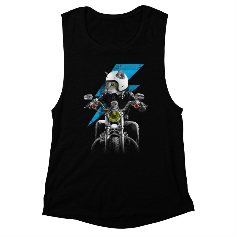 Biker Cat Women's Muscle Tank by Joe Conde