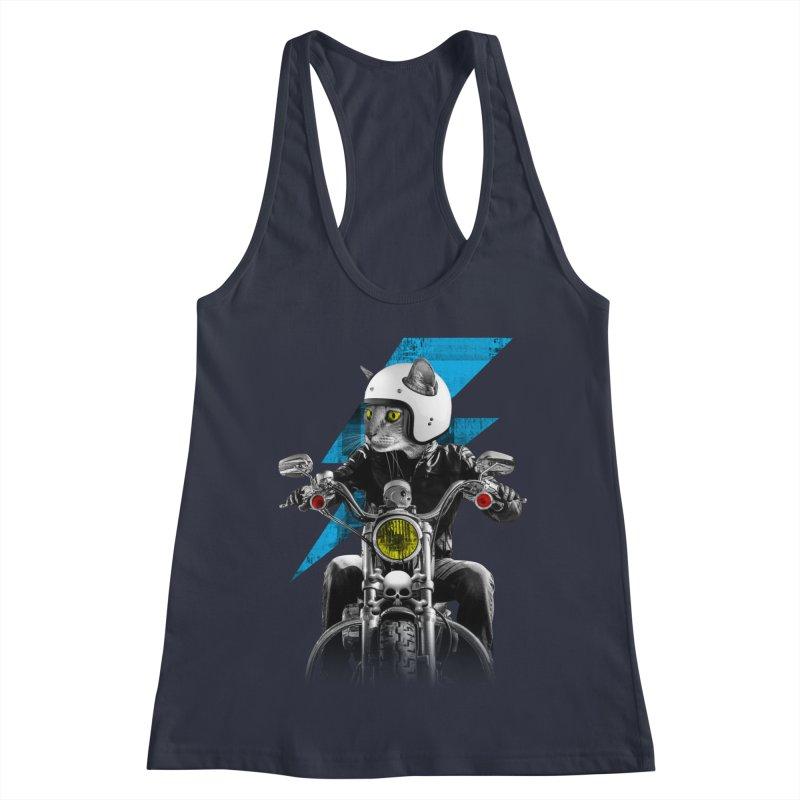 Biker Cat Women's Racerback Tank by Joe Conde