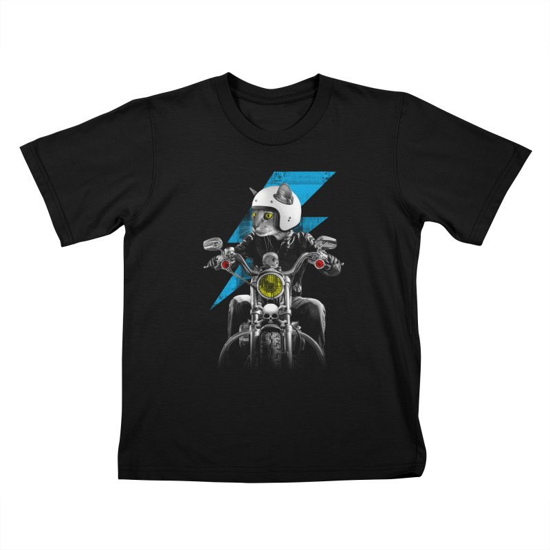 Biker Cat Kids T-Shirt by Joe Conde