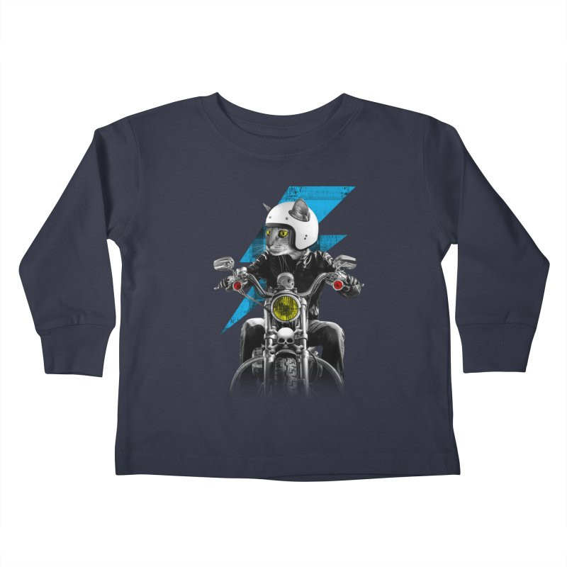 Biker Cat Kids Toddler Longsleeve T-Shirt by Joe Conde