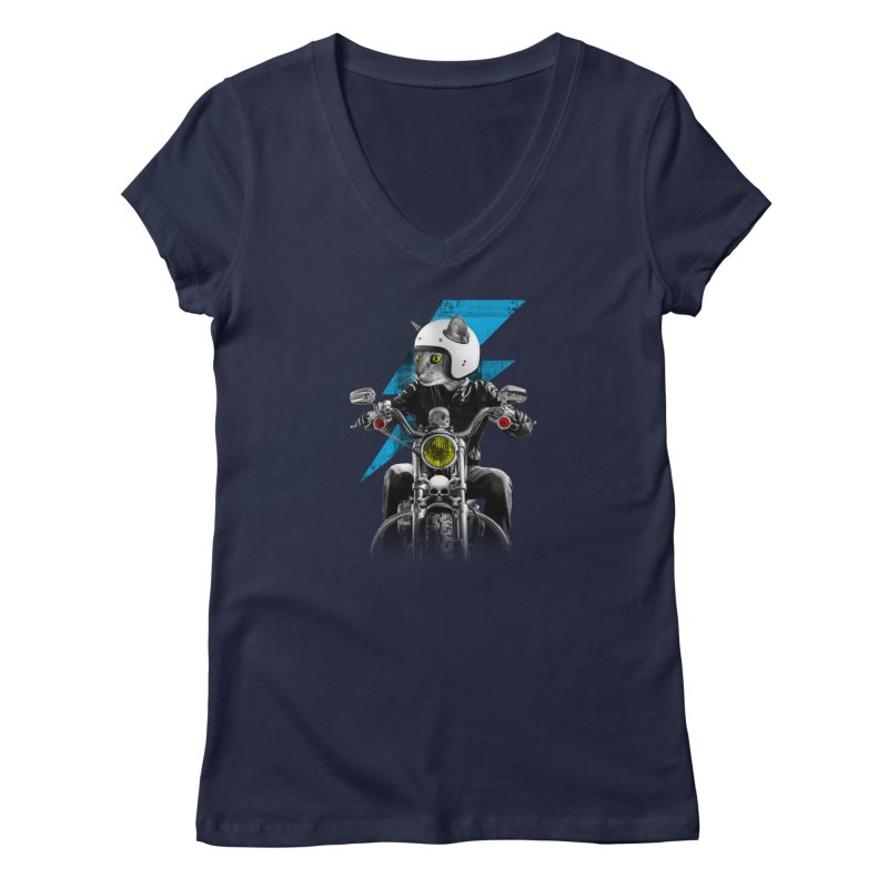 Biker Cat Women's Regular V-Neck by Joe Conde