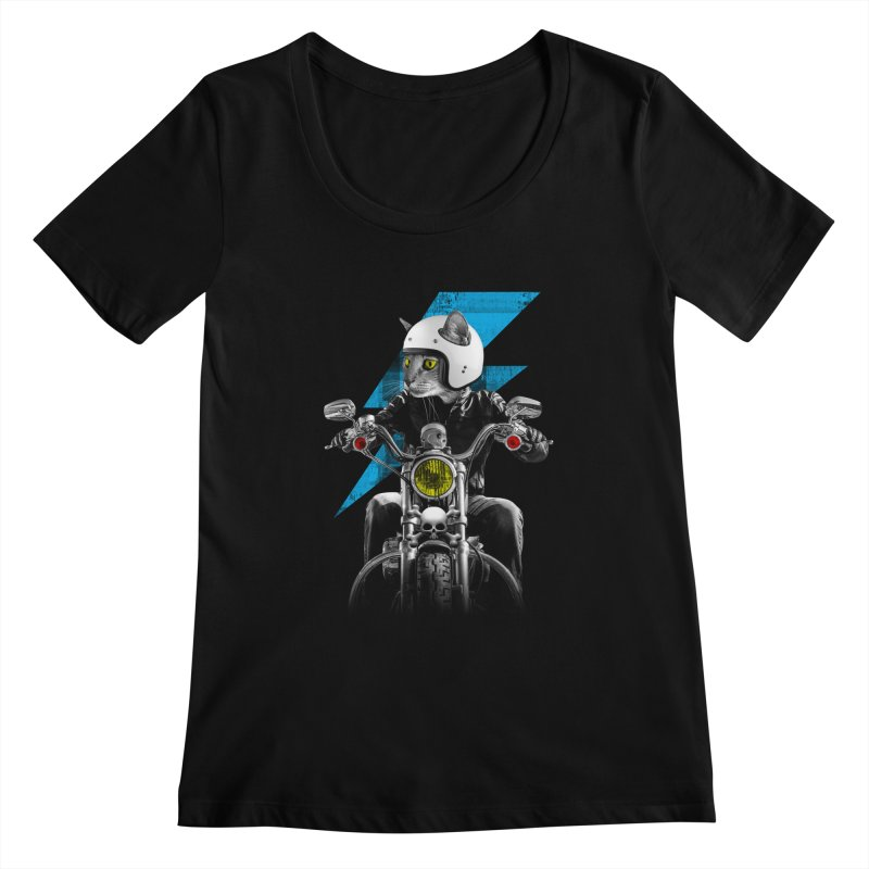 Biker Cat Women's Scoopneck by Joe Conde