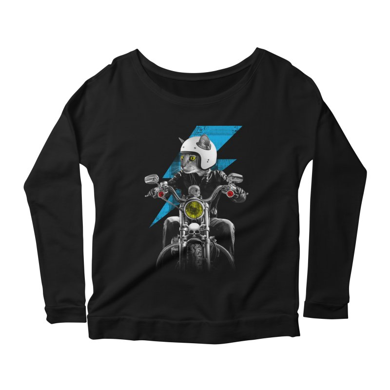 Biker Cat Women's Longsleeve Scoopneck  by Joe Conde