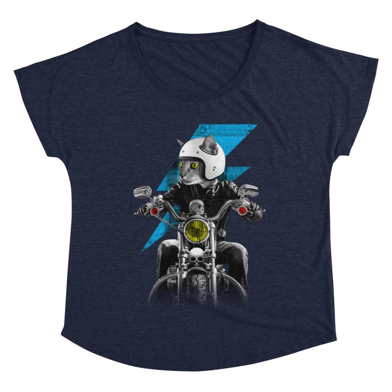 Biker Cat Women's Scoop Neck by Joe Conde