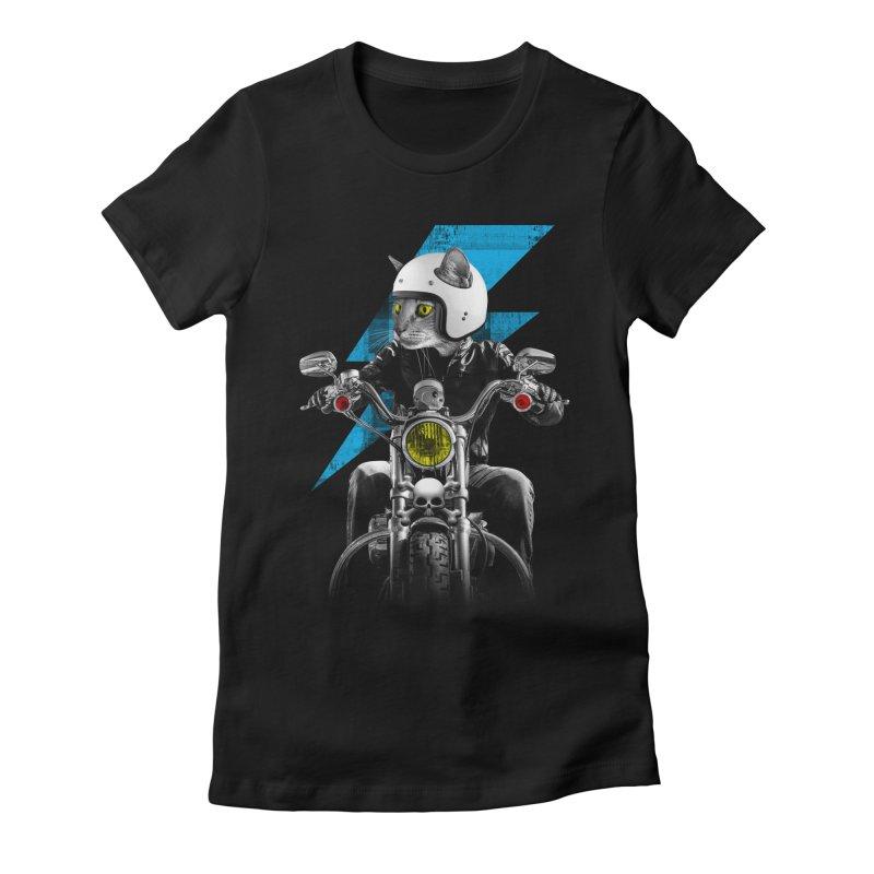 Biker Cat Women's Fitted T-Shirt by Joe Conde