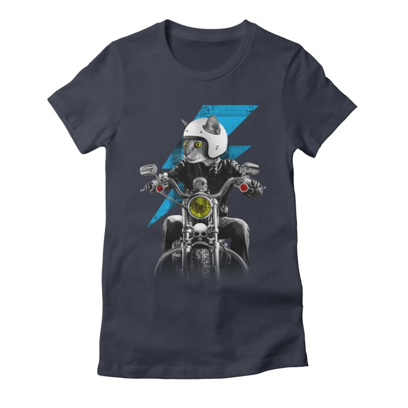 Biker Cat Women's Fitted T-Shirt by Joe Conde