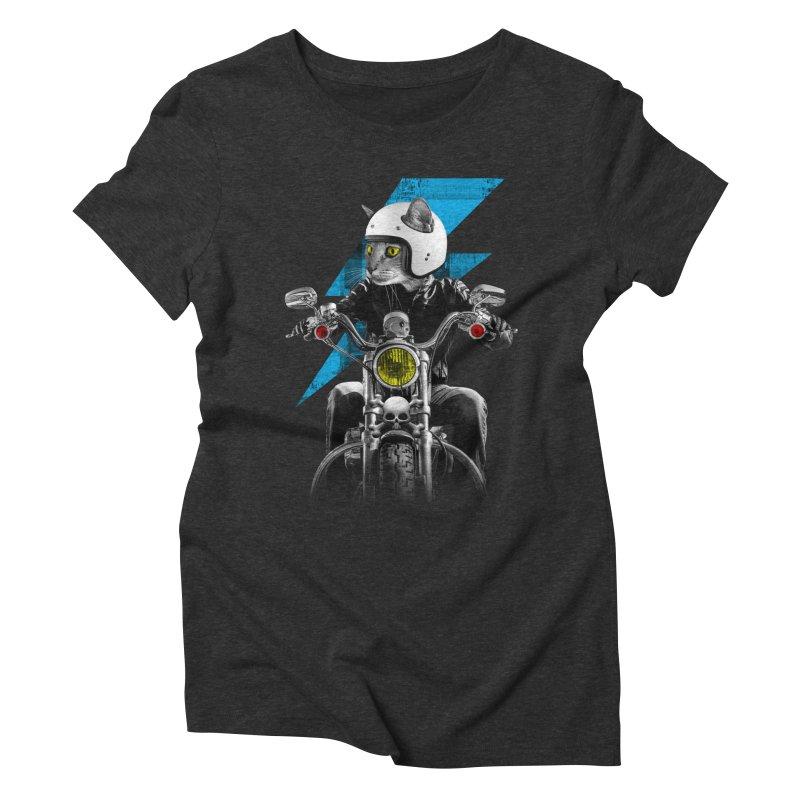 Biker Cat Women's Triblend T-Shirt by Joe Conde