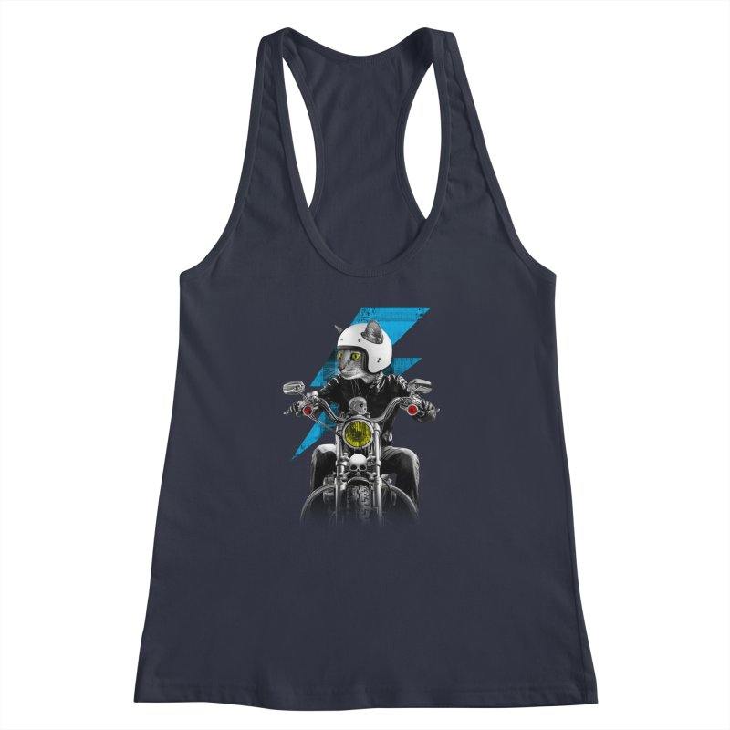 Biker Cat Women's Racerback Tank by Joe Conde