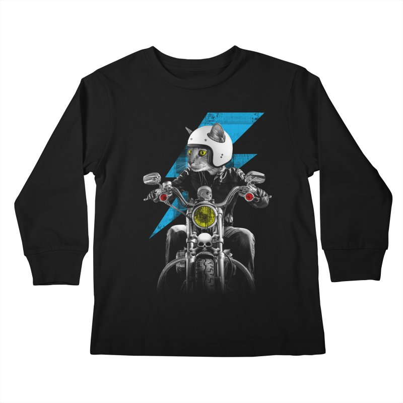 Biker Cat Kids Longsleeve T-Shirt by Joe Conde