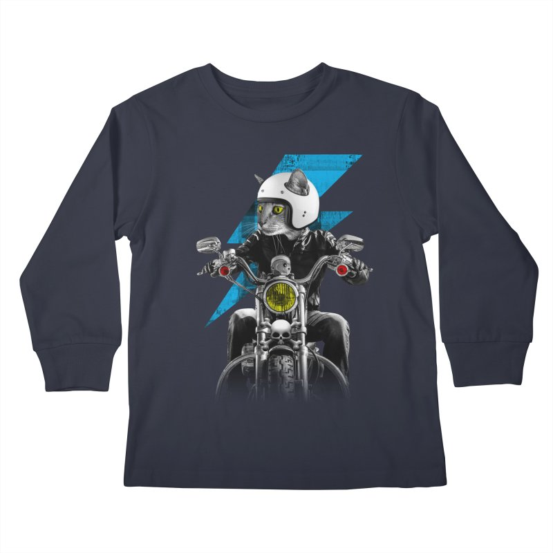 Biker Cat Kids Longsleeve T-Shirt by Joe Conde