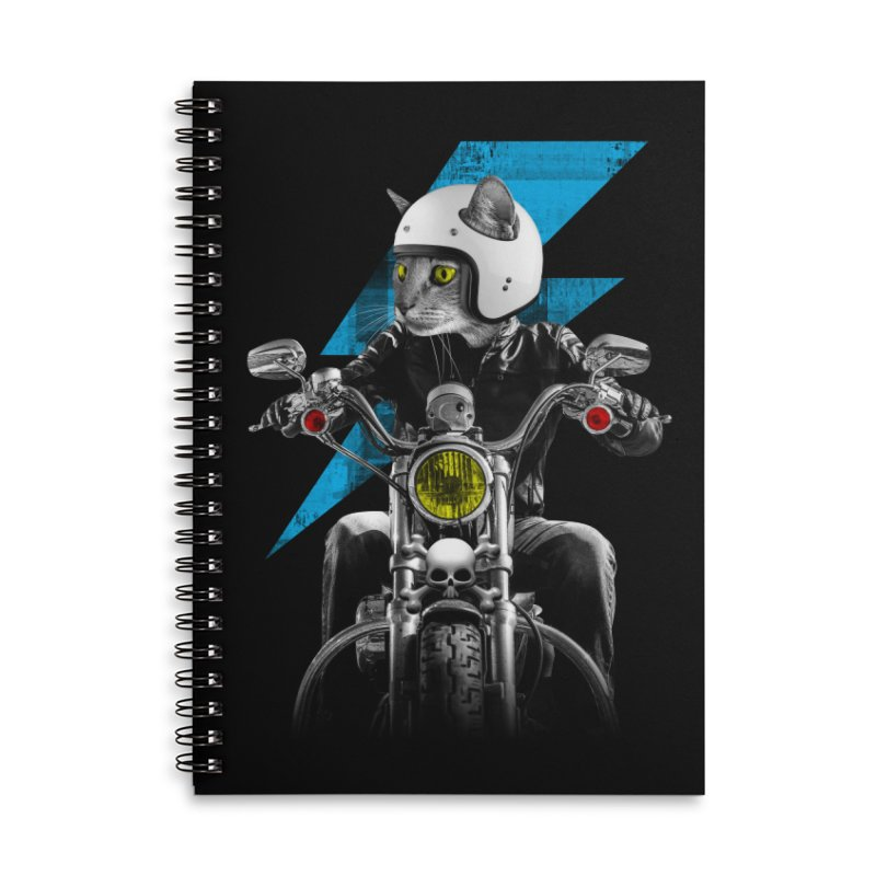 Biker Cat Accessories Lined Spiral Notebook by Joe Conde