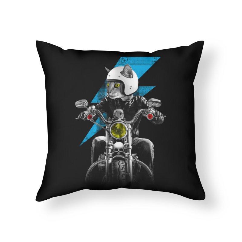Biker Cat Home Throw Pillow by Joe Conde