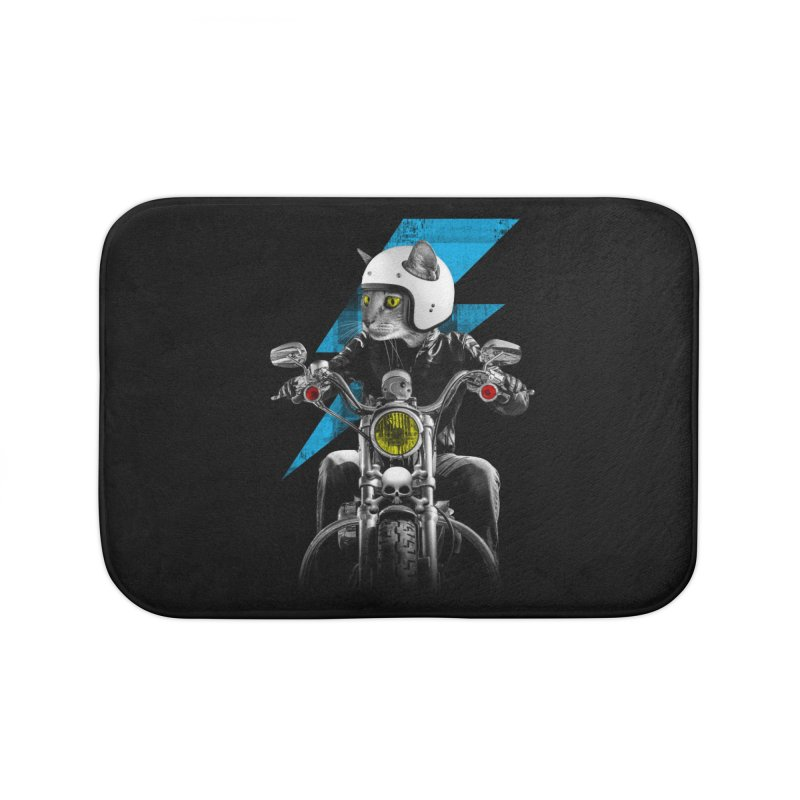 Biker Cat Home Bath Mat by Joe Conde