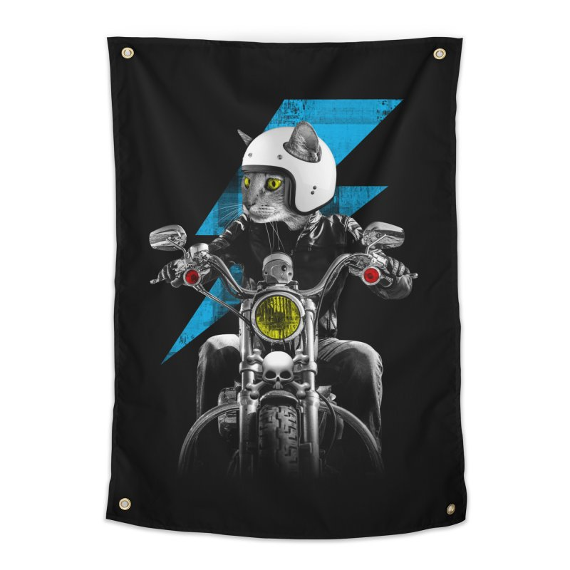 Biker Cat Home Tapestry by Joe Conde