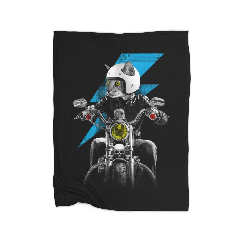 Biker Cat Home Fleece Blanket Blanket by Joe Conde