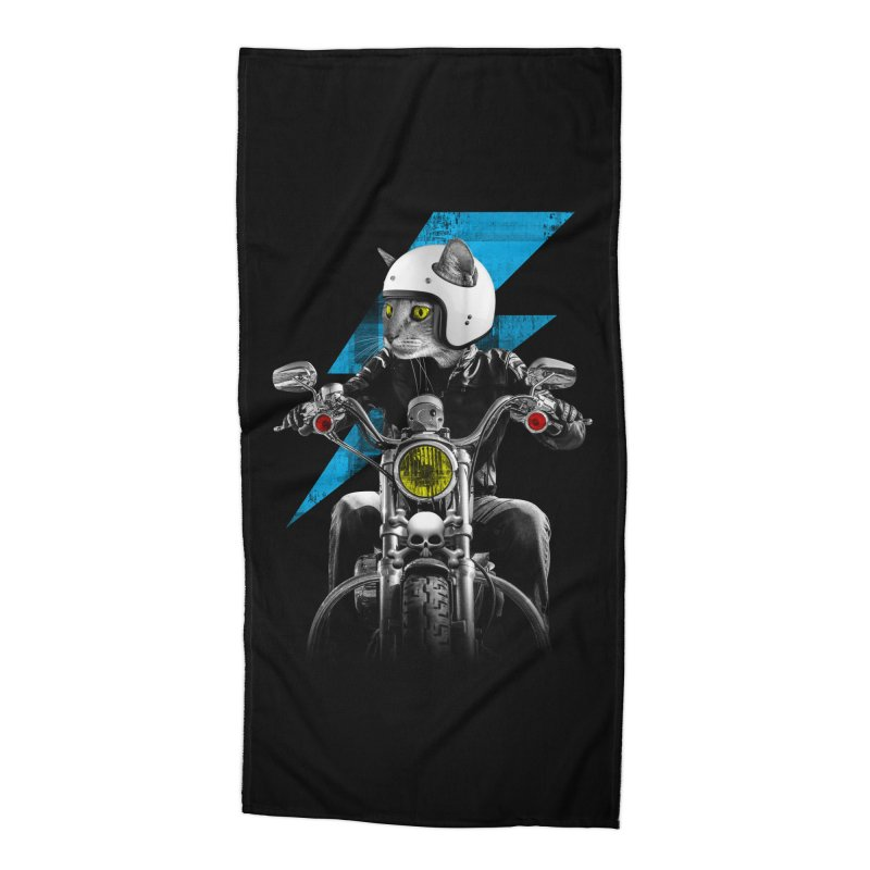 Biker Cat Accessories Beach Towel by Joe Conde