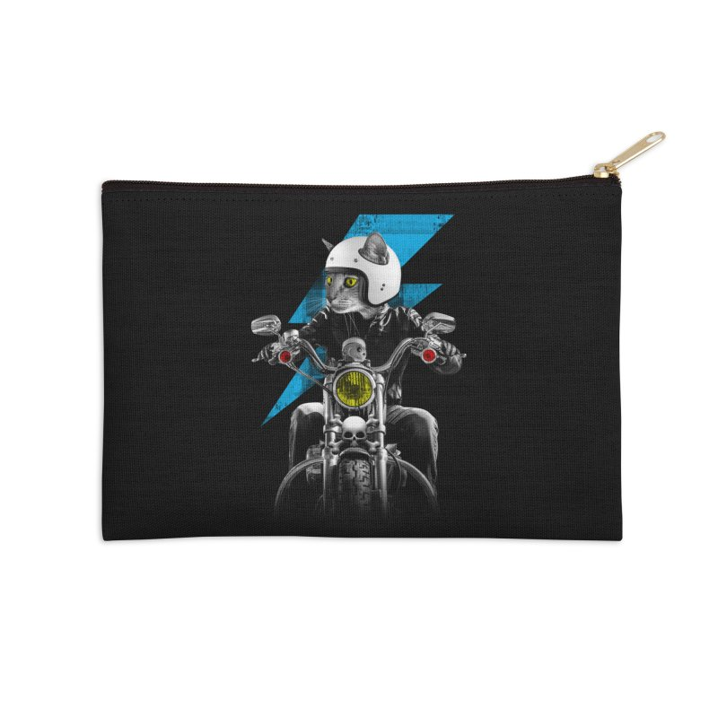 Biker Cat Accessories Zip Pouch by Joe Conde