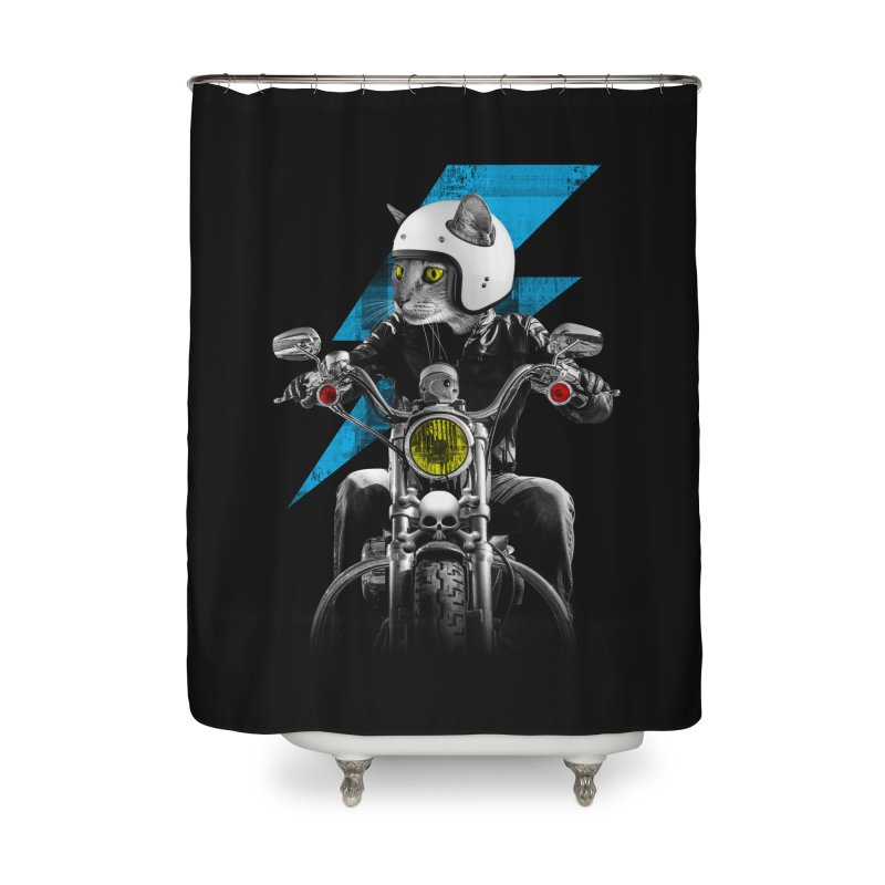 Biker Cat Home Shower Curtain by Joe Conde