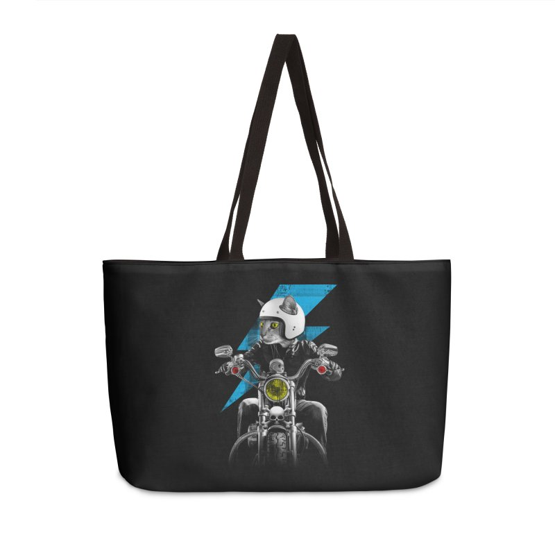 Biker Cat Accessories Weekender Bag Bag by Joe Conde