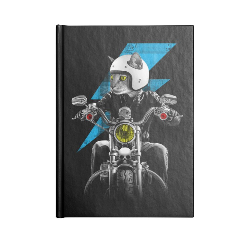 Biker Cat Accessories Blank Journal Notebook by Joe Conde
