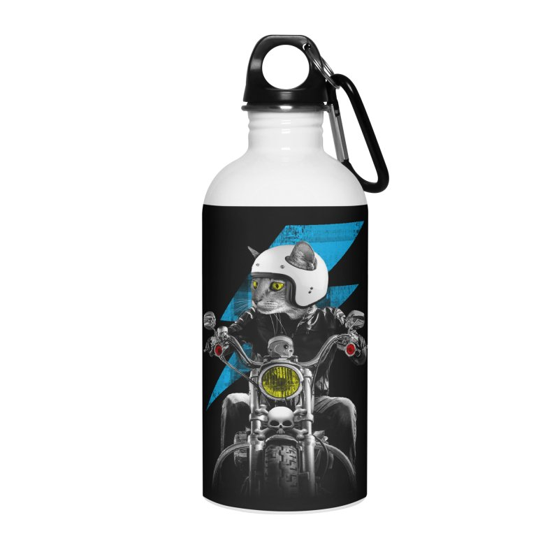 Biker Cat Accessories Water Bottle by Joe Conde