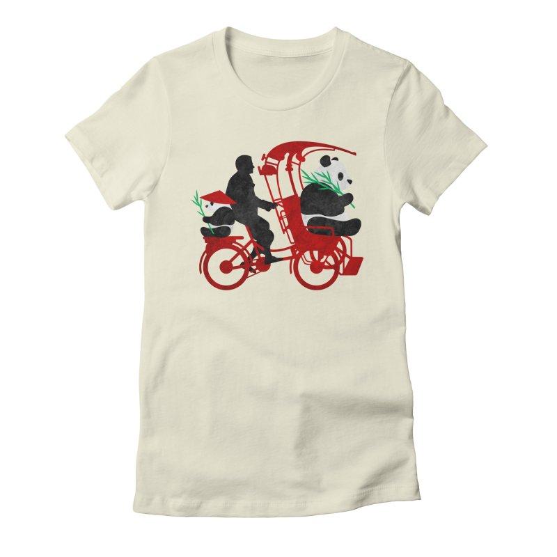 Rickshaw Pandas Women's Fitted T-Shirt by Joe Conde