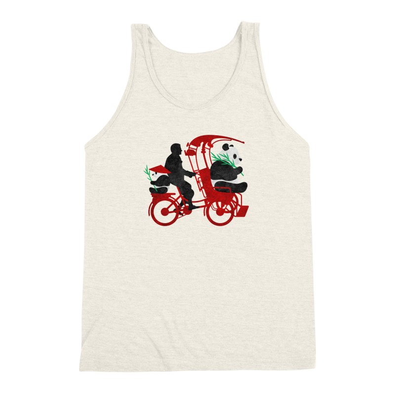 Rickshaw Pandas Men's Triblend Tank by Joe Conde