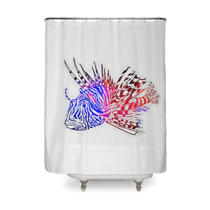 spaced lionfish Home Shower Curtain by joe's shop