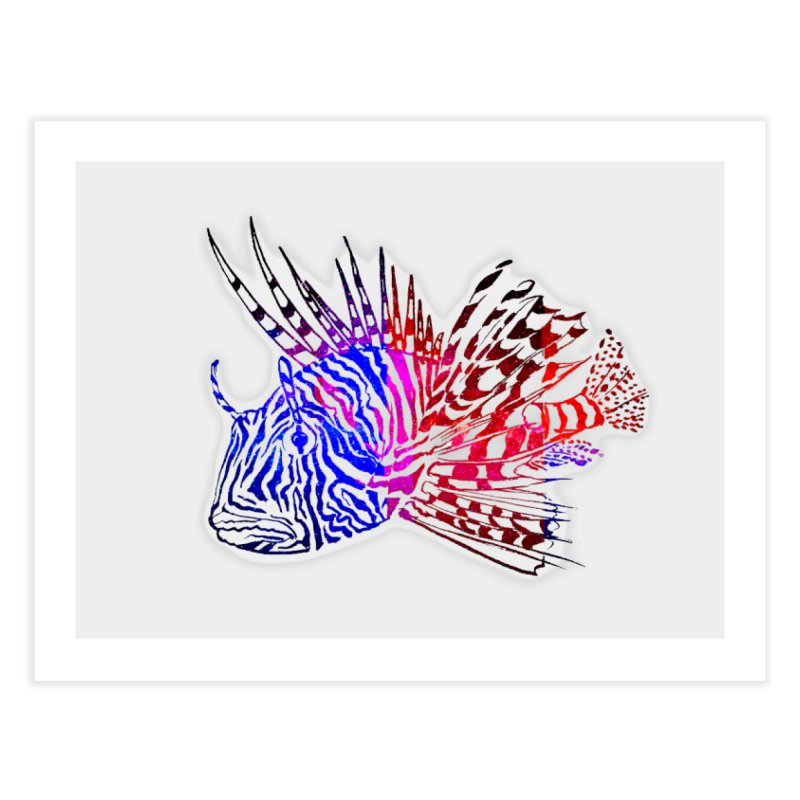 spaced lionfish Home Fine Art Print by joe's shop