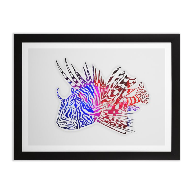 spaced lionfish Home Framed Fine Art Print by joe's shop