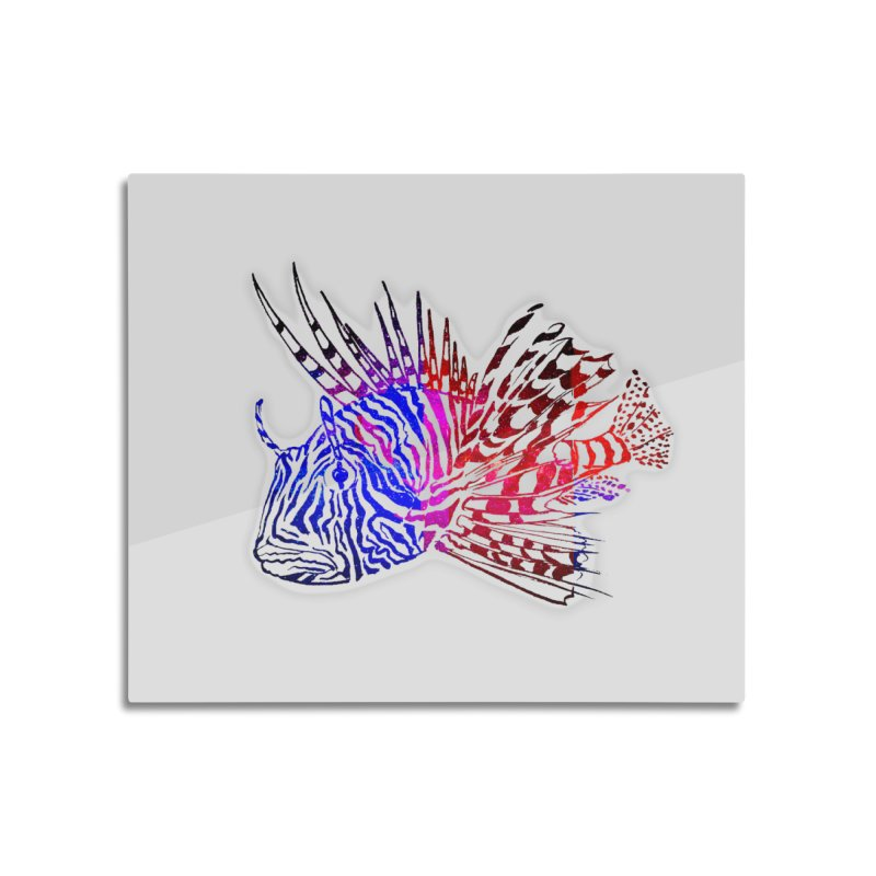 spaced lionfish Home Mounted Aluminum Print by joe's shop