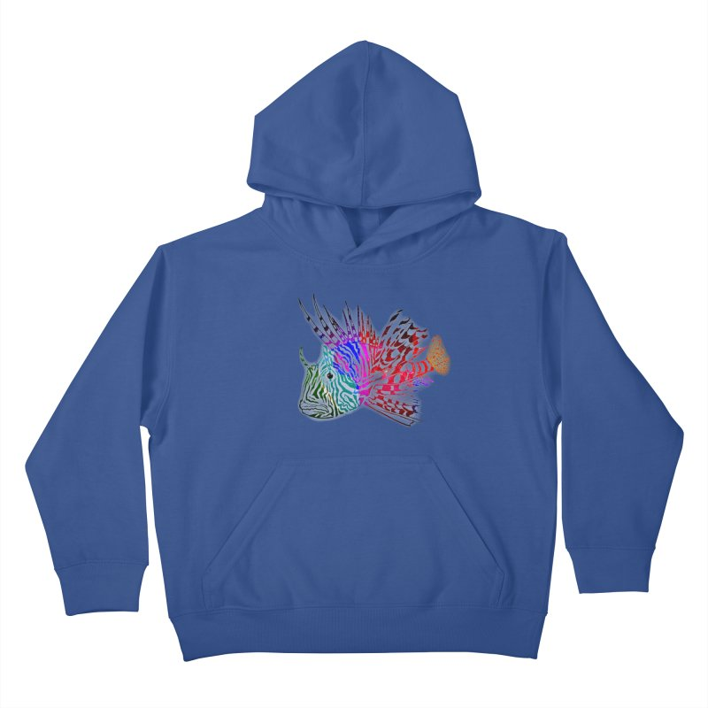 spaced lionfish Kids Pullover Hoody by joe's shop