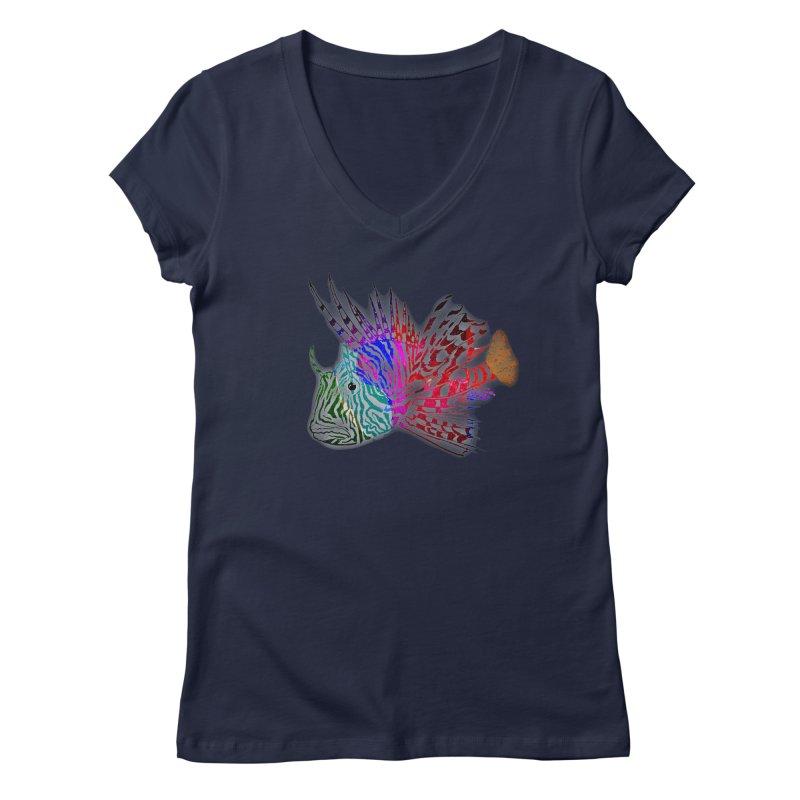 spaced lionfish Women's Regular V-Neck by joe's shop