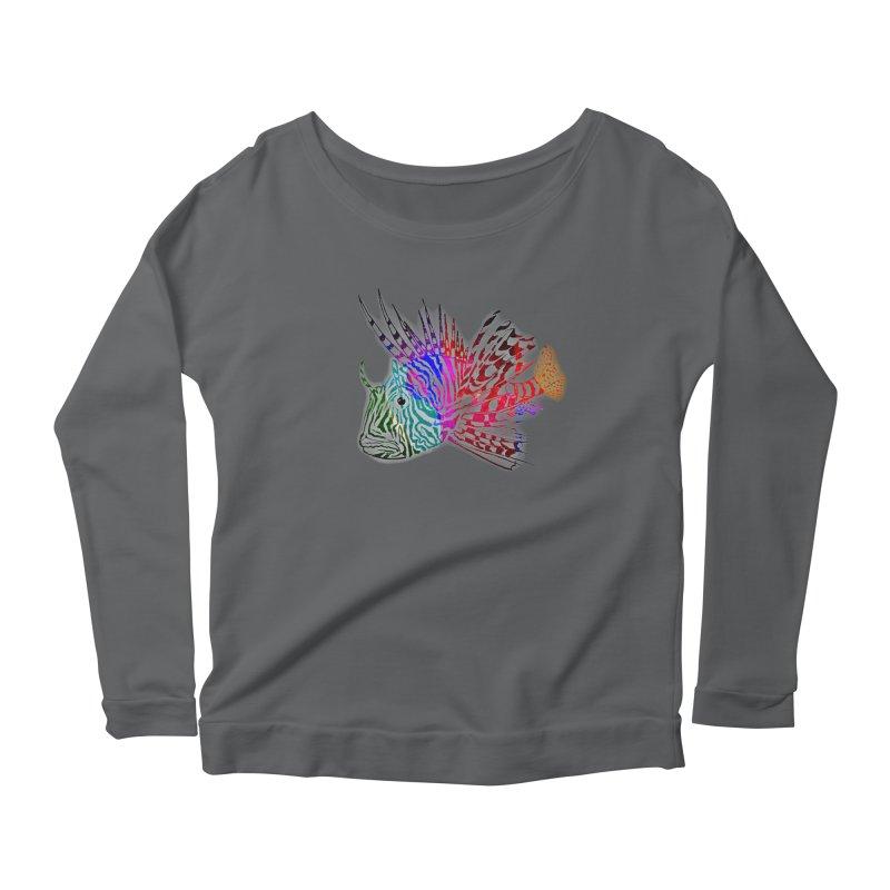 spaced lionfish Women's Scoop Neck Longsleeve T-Shirt by joe's shop