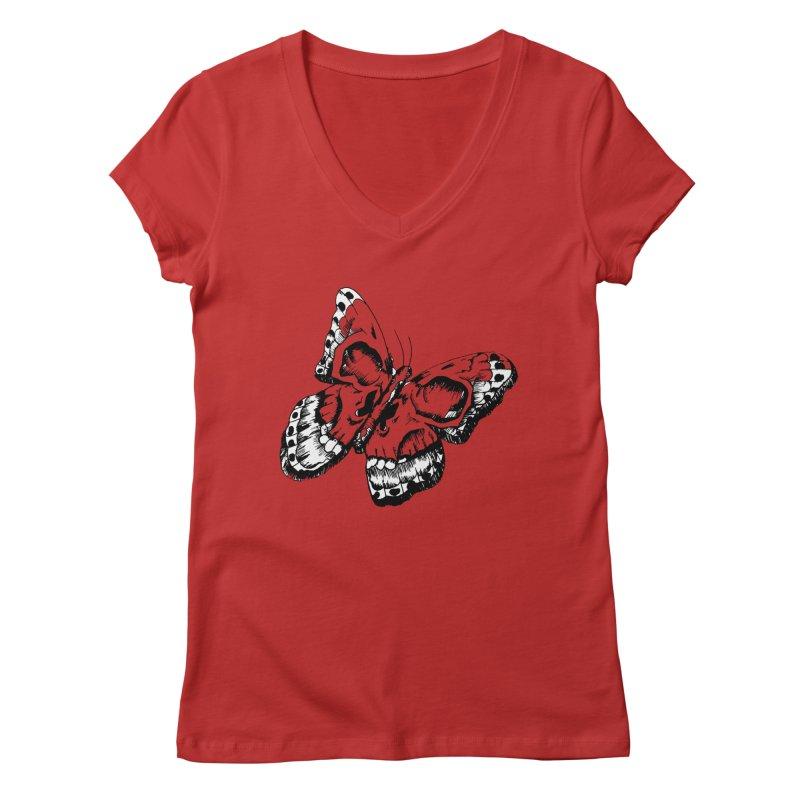 death flutterby Women's V-Neck by joe's shop