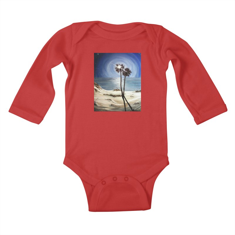 two trees in the moonlight Kids Baby Longsleeve Bodysuit by joe's shop